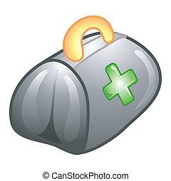 doctor\\\'s, táska, ikon