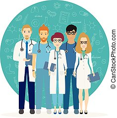 Doctors. Team of medical workers on a background. Hospital staff. Vector illustration in cartoon style