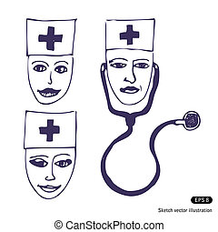 Doctors. Three icon faces