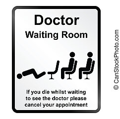 Doctors waiting room Information Si - Monochrome comical...