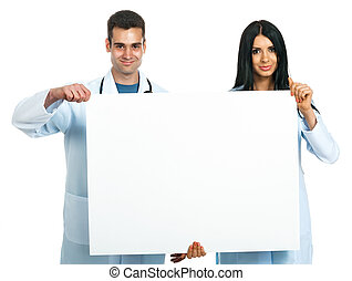 doctors with a board