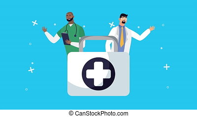 doctors with medical kit characters animation ,4k video animated