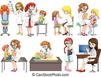doctors, y, paciente, en, clínica