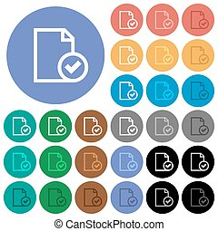 Document accepted round flat multi colored icons