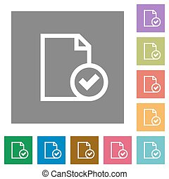 Document accepted square flat icons