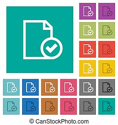 Document accepted square flat multi colored icons