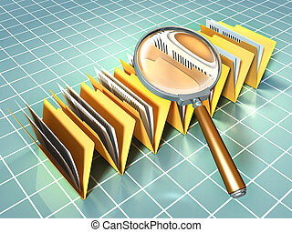 Some document folders under a magnifying glass. Digital illustration.