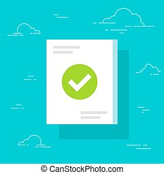 Document and checkmark icon, flat cartoon paper doc page...
