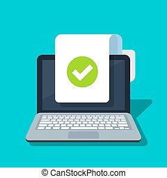 Document and checkmark vector icon on laptop background. Concept or correct form or agreement symbol. Flat cartoon paper doc page with approved tick sign.