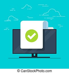 Document and checkmark vector icon on monitor background. Concept or correct form or agreement symbol. Flat cartoon paper doc page with approved tick sign.