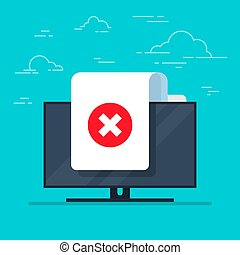 Document and cross vector icon on monitor background. Concept or incorrect form or rejection symbol. Flat cartoon paper doc page with reject tick sign.