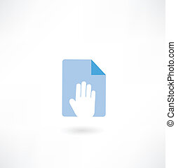 document and hand icon