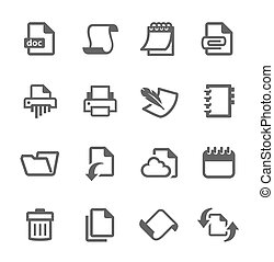 Document and papers icons - Simple set of documents related...