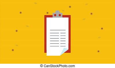 document, animation, presse-papiers, liste contrôle