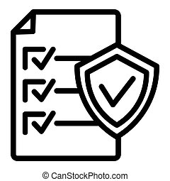 Document approve line icon. Checklist with shield vector illustration isolated on white. Paper with check outline style design, designed for web and app. Eps 10.