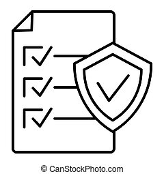 Document approve thin line icon. Checklist with shield vector illustration isolated on white. Paper with check outline style design, designed for web and app. Eps 10.