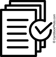 Document approved request icon, outline style