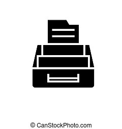 document archive icon, vector illustration, black sign on isolated background