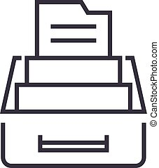 document archive,box with files vector line icon, sign, illustration on background, editable strokes