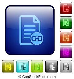 Document attachment color square buttons
