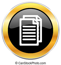 Document black web icon with golden border isolated on white background. Round glossy button.