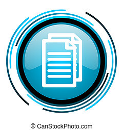document blue circle glossy icon