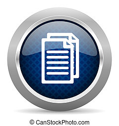 document blue circle glossy web icon on white background, round button for internet and mobile app