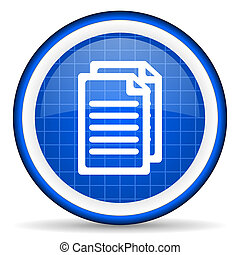 document blue glossy icon on white background