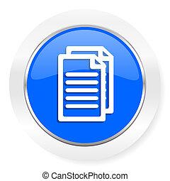 document blue glossy web icon
