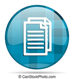 document blue round modern design internet icon on white background