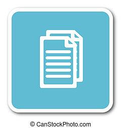 document blue square internet flat design icon