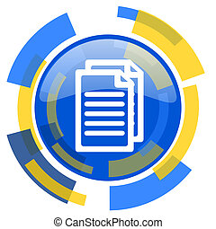 document blue yellow glossy web icon