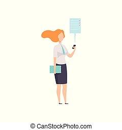 document, business, fonctionnement, téléphone, réussi, femme affaires, travail, caractère, illustration, mobile, vecteur, fond, utilisation, blanc, app