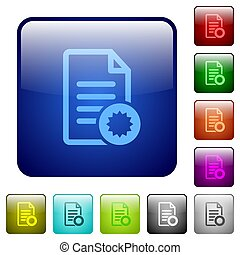 Document certificate color square buttons