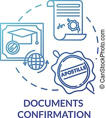 Document confirmation blue concept icon. Check quality of report. Common law paperwork. Approved certificate. Notary service idea thin line illustration. Vector isolated outline RGB color drawing