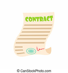 Document contract icon, cartoon style