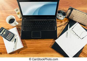 document, en, informatietechnologie, apparaat, op, desktop