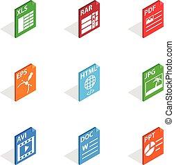 Document file format icons set. Isometric 3d illustration of 9 document file format vector icons for web