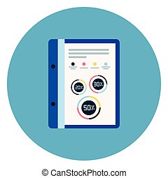 Document File With Report Diagrams Icon On Blue Round Background