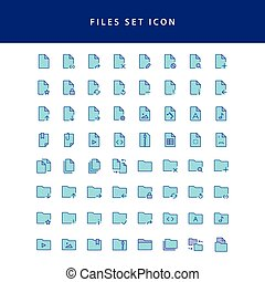 Document Files icon filled outline set