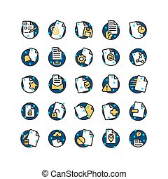 Document filled outline icon set. Vector and Illustration.