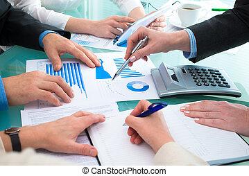 document, financier, discuter