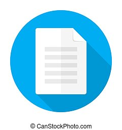 Document flat circle icon with long shadow - Vector...