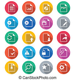 Document flat color icons