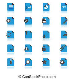 Document flat with reflection icons
