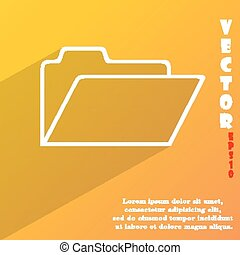 Document folder icon symbol Flat modern web design with long shadow and space for your text. Vector illustration