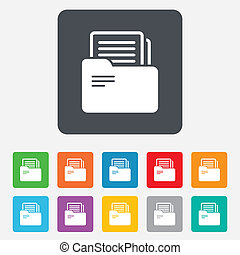 Document folder sign. Accounting binder symbol. Bookkeeping management. Rounded squares 11 buttons. Vector
