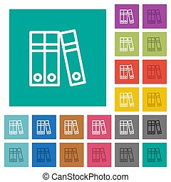 Document folders square flat multi colored icons