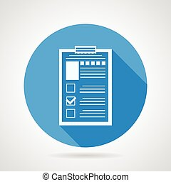 Document form blue round vector icon