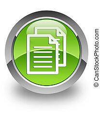 Document glossy icon - document icon on glossy green round ...